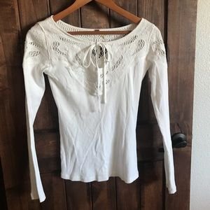 Free People Rib Knit Keyhole Lace Long Sleeve